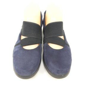 Clarks Shoes - Clarks Daelyn Villa Blue Suede Mary Jane Flats